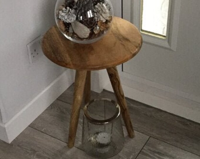 Scandinavian Side Table Bedside Nightstand Plant Stand Solid Mango Wood