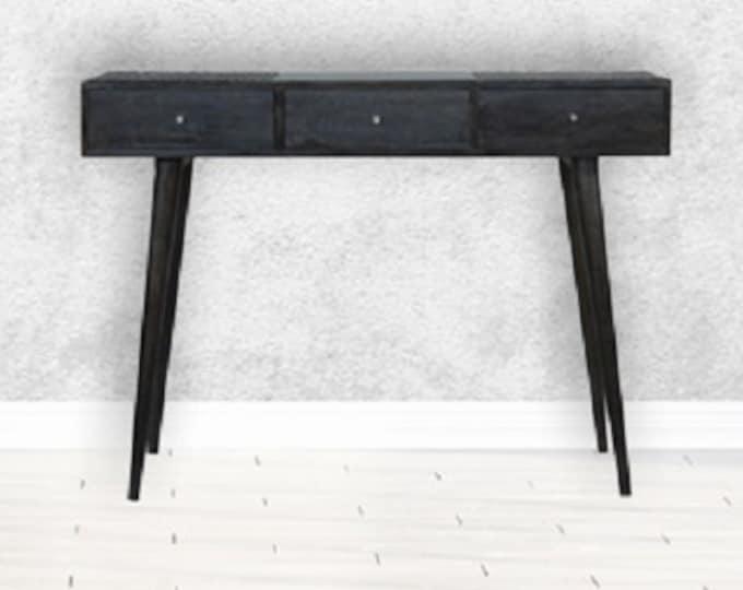 Narrow Hallway Console Table Slim Entryway Solid Mango Wood Cabinet Unit Country Boho Ash Black 3 Drawer Sideboard Rustic
