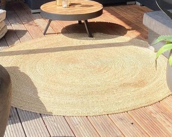 Handmade Round Rug Jute White and Natural Carpet Handwoven 150 cm Bohemian Boho