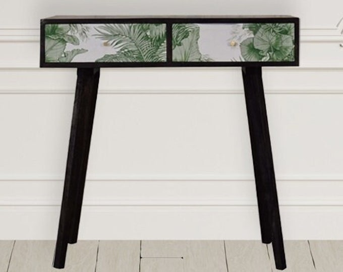 Black Small Console Table Unique Handmade Side Table Solid Mango Wood Stand Hallway Nordic Style