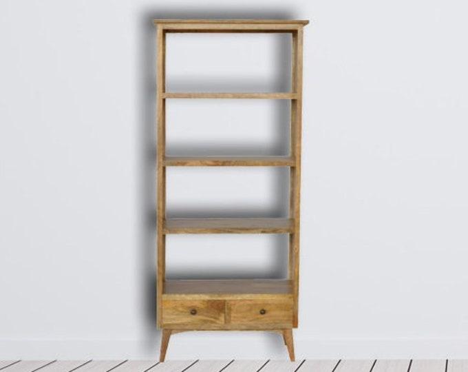 Solid Mango Wood Bookcase 2 Drawer 4 Shelf Tall Bookshelf Nordic Scandinavian Style Cabinet Handmade