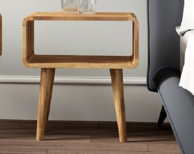 Scandinavian Style Bedside Table Solid Mango Wood Cabinet Nordic Retro Nightstand Side Table Handmade