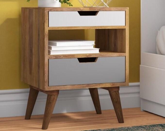 Scandinavian Style Bedside Table Solid Mango Wood Cabinet Nordic Retro Nightstand Side End Handmade