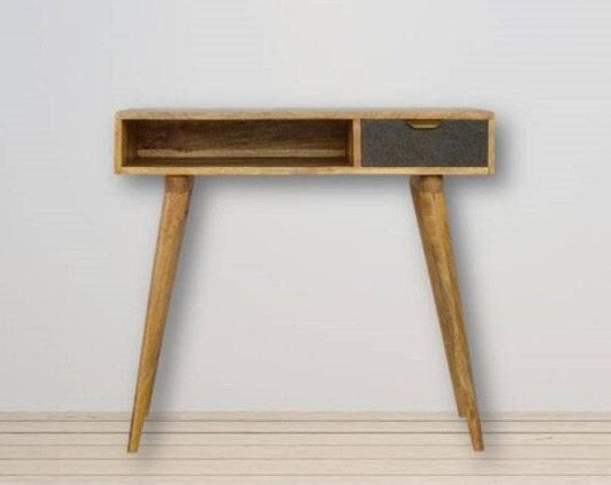 Small Scandinavian Computer Desk Nordic Laptop Writing Table Grey Tweed Handmade Solid Mango Wood