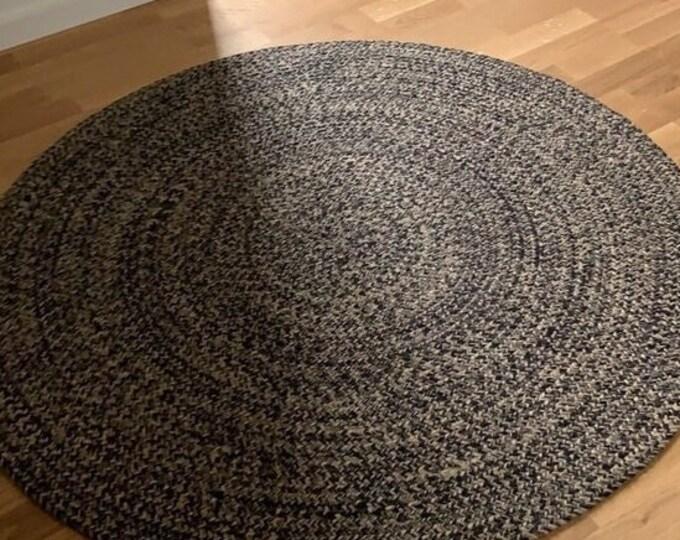 Handmade Round Rug Jute Black and Natural Carpet Handwoven 90 cm