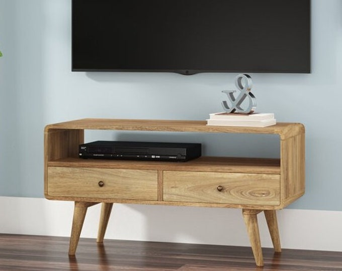 Narrow Retro Scandinavian Style TV Stand Media Unit With Drawers Small Solid Wood Handmade