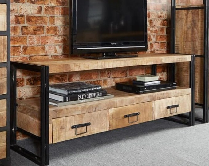 Extra Large Industrial TV Unit Lowboard Sideboard Cabinet Urban Handmade Reclaimed Rustic Storage Unit
