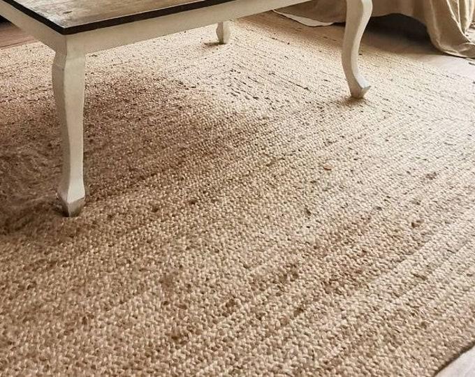 Handmade Rectangle Area Rug Braided Jute Natural Carpet Bohemian Boho Handwoven 120 x 180