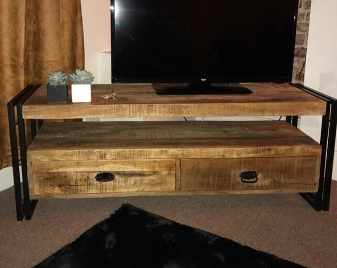 Industrial Style TV Unit Stand Media Console Cabinet Vintage Storage Solid Mango Wood Handmade