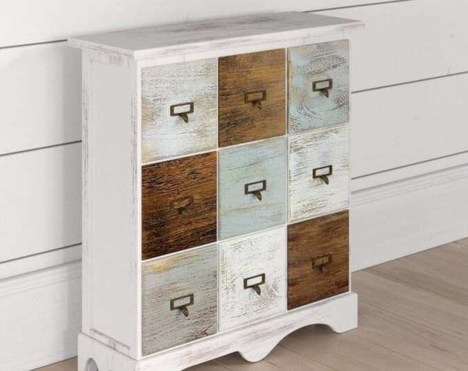 Shabby Chic Chest of 9 Drawers Solid Wood Slim Cabinet Narrow Side Table Dresser Rustic