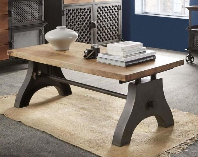 Industrial Coffee Table Solid Mango Wood Handmade Rustic Side Table Reclaimed