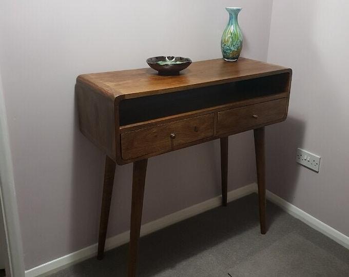 Retro Scandinavian Style Console Table with Drawers Slim Hallway Cabinet Narrow Storage Handmade Brown