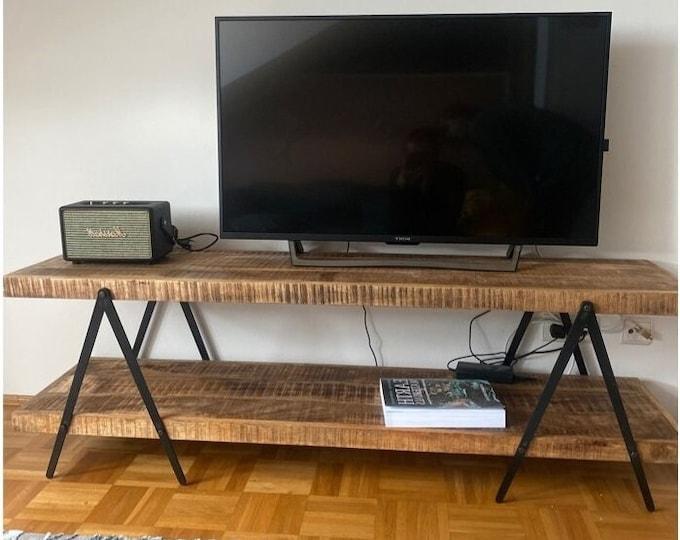 Solid Mango Wood TV Stand Industrial Cabinet TV HiFi Unit Sideboard Rustic Handmade Long