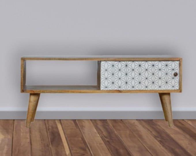 Scandinavian Coffee Table Geometric Design Media Unit TV Stand Sliding Door