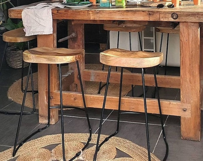 Set of 2 Breakfast Bar Stools Industrial Vintage Solid Mango Wood High Counter Chairs