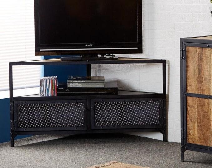 Industrial Corner TV Stand Media Unit Storage Sideboard Cabinet Handmade Cupboard Metal Solid Mango Wood Top Space Saving
