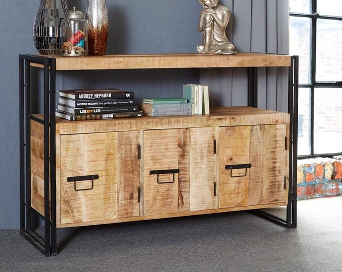 Extra Large Industrial Sideboard Cabinet Cupboard Urban Handmade Reclaimed Rustic Storage Unit Buffet