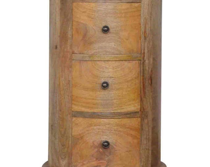 Round Rustic Bedside Table 3 Drawer Drum Style Cabinet Nightstand Plant Stand Solid mango Wood Handmade