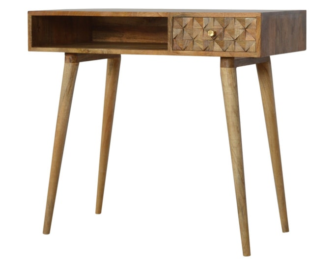 Small Mango Wood Scandinavian Writing Desk Handmade Computer Laptop PC Console Table Solid Entryway Nordic Hallway Carved Unit