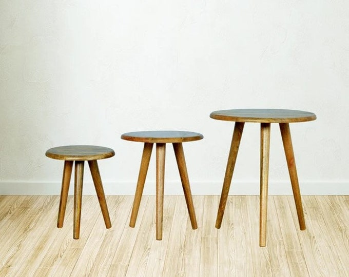Set of 3 Side Tables Scandinavian Nesting Nest of Table Coffee Tea Occasional Cocktail Tables Plant Stand Solid Mango Handmade Stools Round