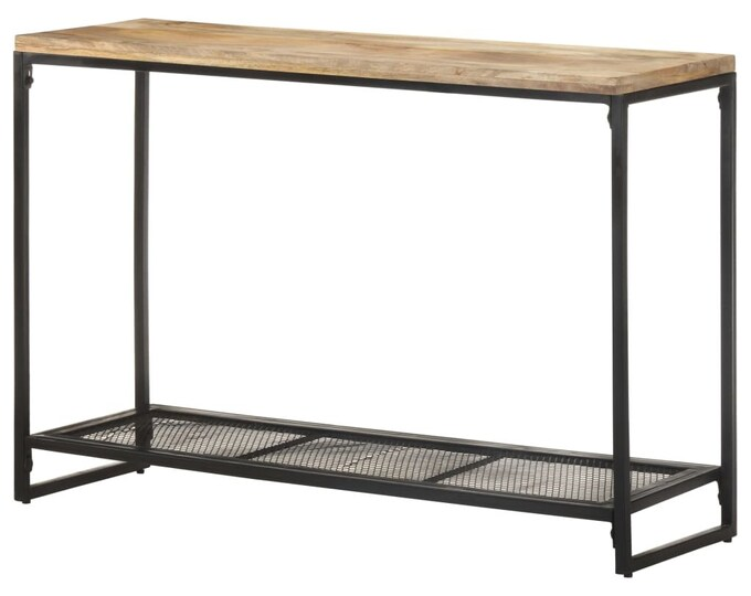 Slim Hallway Console Table Industrial Vintage Style Narrow Solid Mango Wood Unit