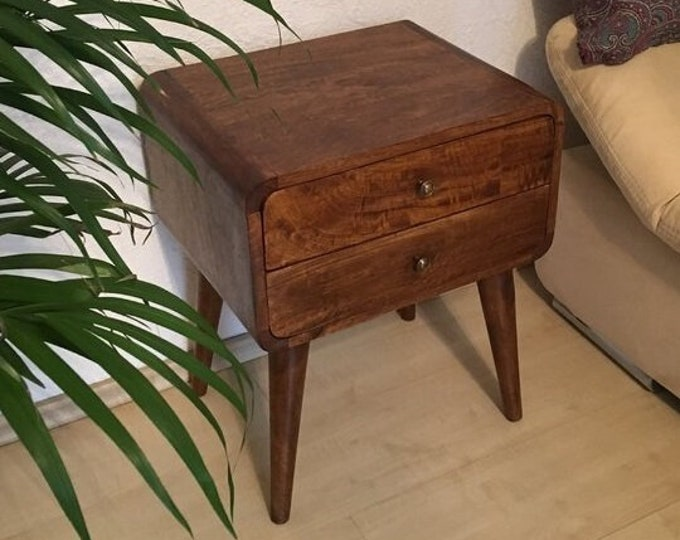 Scandinavian Style Bedside Table Nordic Retro Nightstand Side Table Handmade Solid Mango Wood Brown Cabinet