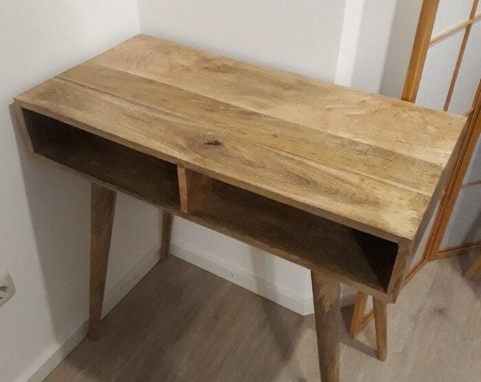 Scandinavian Style Writing Desk Handmade Solid Mango Wood Computer Laptop Dressing Table Retro
