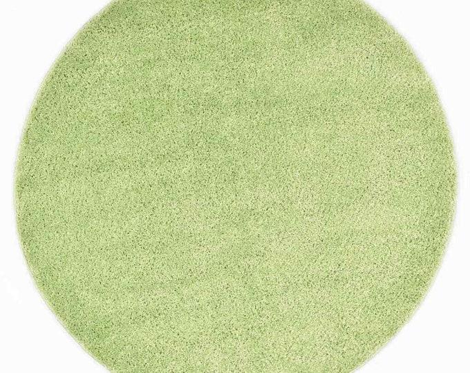 Green Round Shaggy Area Rug Mat Circle Carpet Boho 120 cm