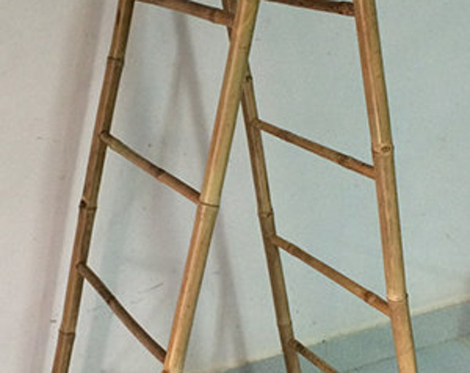 Tall Bamboo Double Blanket Towel Ladder with 5 Rungs Bathroom Rack Decor Shelf Boho 160cm