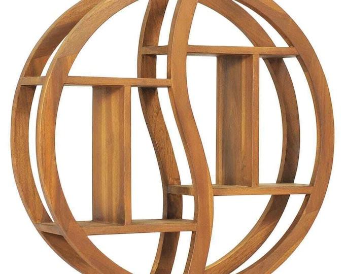 Solid Round Wall Shelf Teak Wood Yin Yang  Wooden Ledge Floating Display Rack