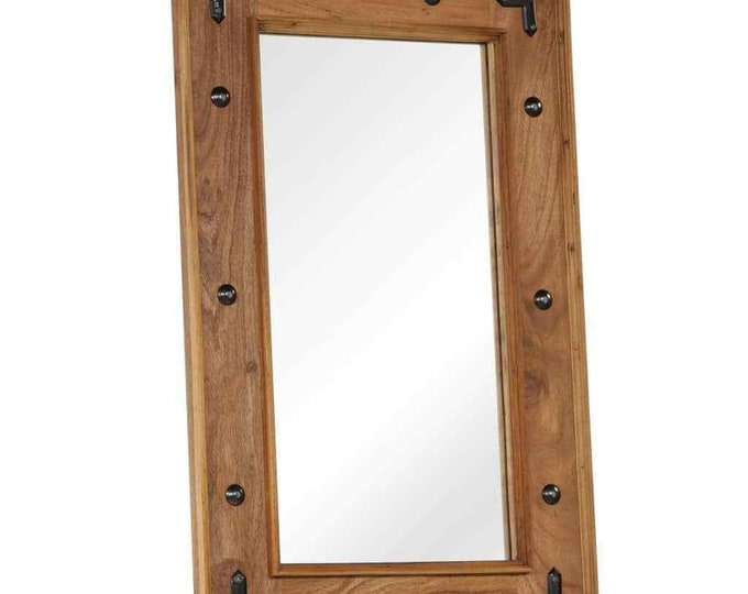 Wall Mounted Solid Wood Mirror Industrial Rustic Vintage Style Decor