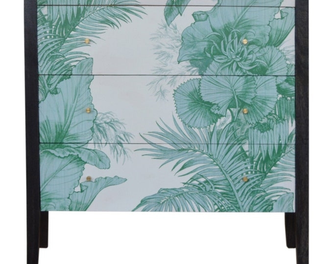 Mid-Century Modern Chest of Drawers Unique Dresser Storage Cabinet Tropical Print Handmade