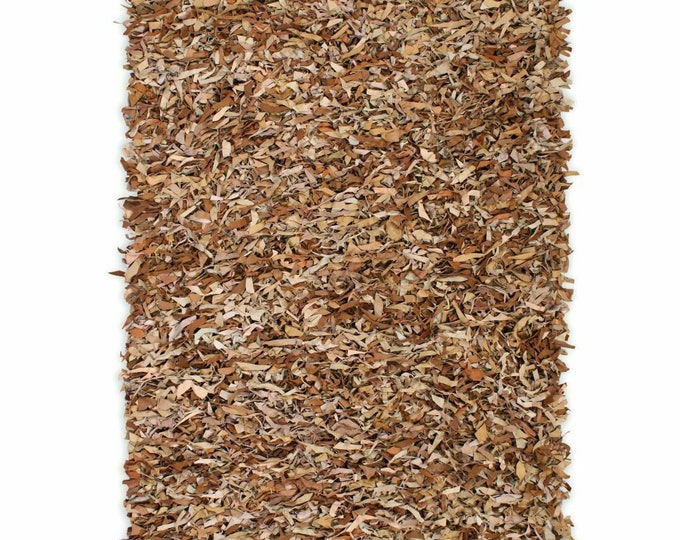 Handmade Shaggy Area Rug Genuine Leather Tan Floor Carpet Mat