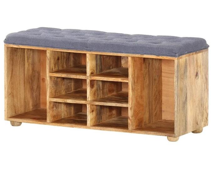 Hallway Shoe Storage Bench Seat Cushioned Rustic Solid Mango Wood Shelving Unit Entryway Organizer