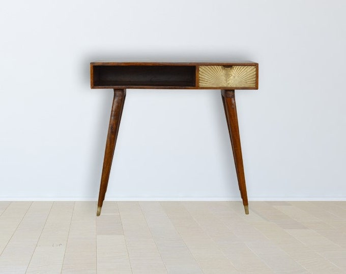 Scandinavian Writing Desk Dark Brown Console Table Gold Carved Nordic