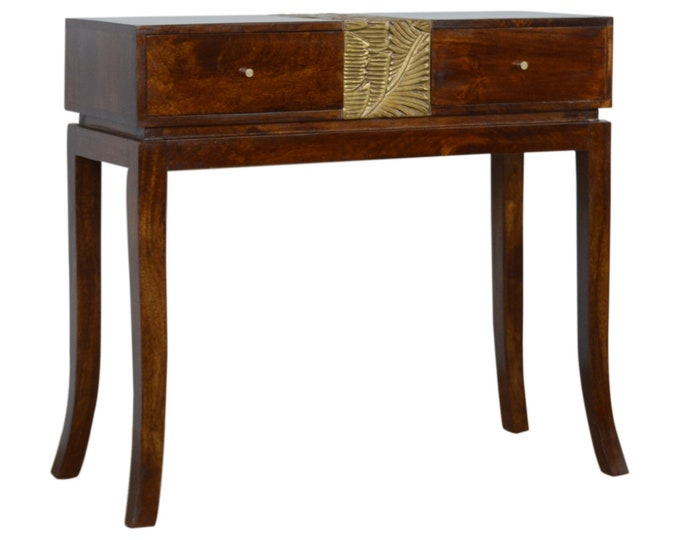 100% Solid Mango Wood Console Table Handmade Hallway Slim Cabinet Carved Brass Foil Design Unit Stand Side Table