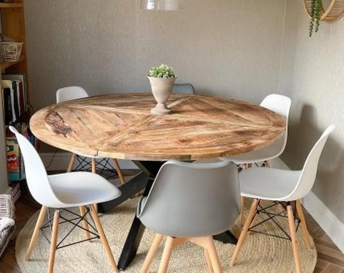 Large Round Dining Table Industrial Rustic Vintage Kitchen Meeting Solid Mango Wood Conference