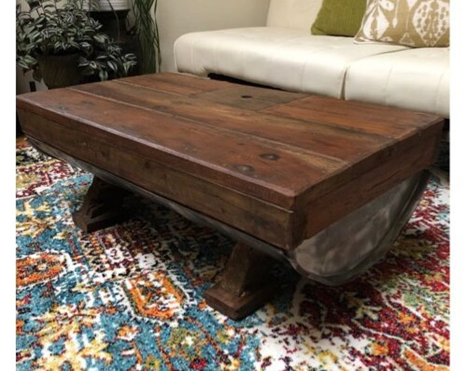 Reclaimed Wooden Table Solid Wood Rustic Retro Industrial Galvanised Iron Unique