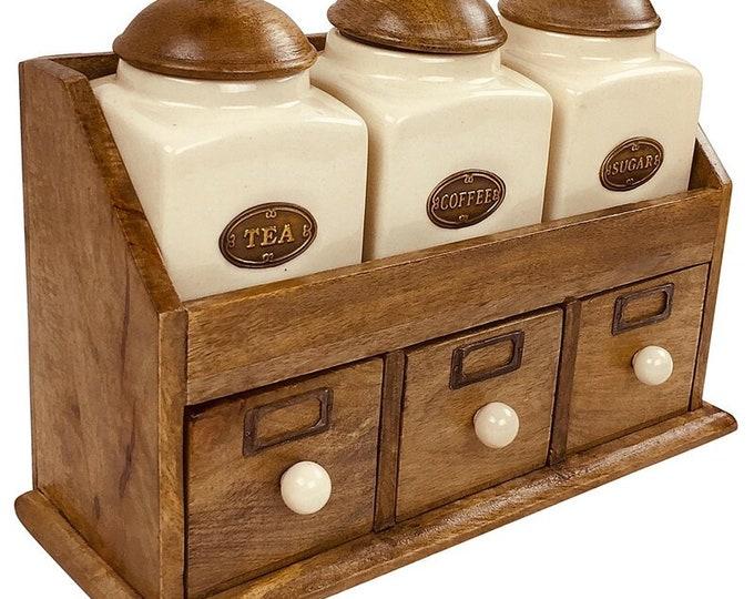 3 Piece Ceramic Jars Set Drawers Coffee Tea Sugar Kitchen Storage Solid Wood