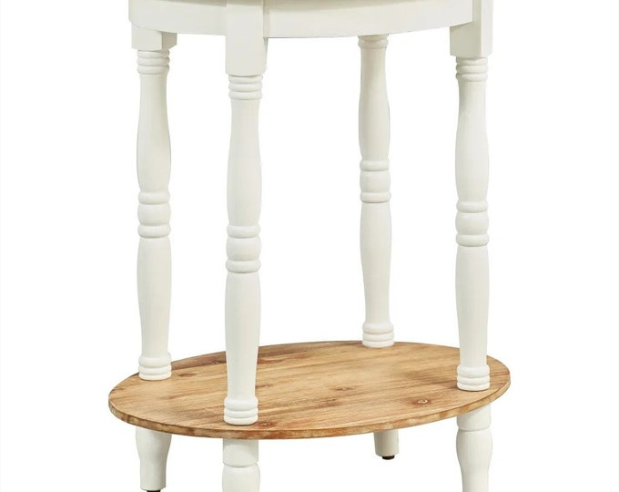 Oval Bedside Table Vintage French Style Side Table Solid Acacia Wood Plant Stand Shelf