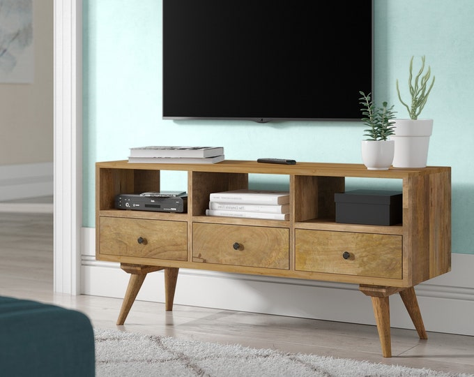 Narrow Retro Scandinavian Style TV Stand Media Unit With 3 Drawers Small Solid Wood Handmade