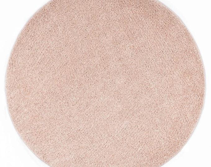Old Pink Round Shaggy Area Rug Mat Circle Carpet Scandinavian 120 cm