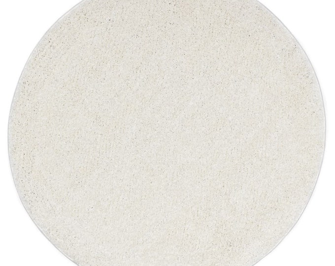 Cream Round Shaggy Area Rug Mat Circle Carpet Boho 120 cm