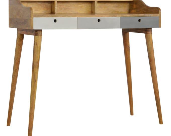 Solid Mango Wood Writing Desk Scandinavian Computer Table Secretary Unit Console Nordic Handmade