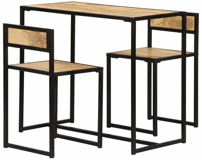 2 Seater Kitchen Dining Table and Chairs Set Industrial Space Saving Solid Mango Wood Furniture Bistro Compact