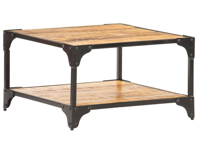 Rustic Industrial Square Coffee Table Side Table Living Room Furniture Solid Mango Wood Iron