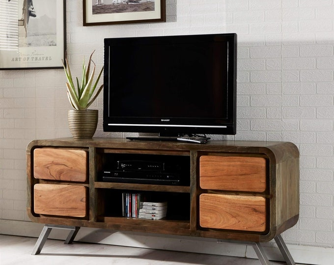 Industrial TV Stand Rustic Media Unit Storage Sideboard Cabinet Handmade Buffet Solid Mango Wood Retro Style