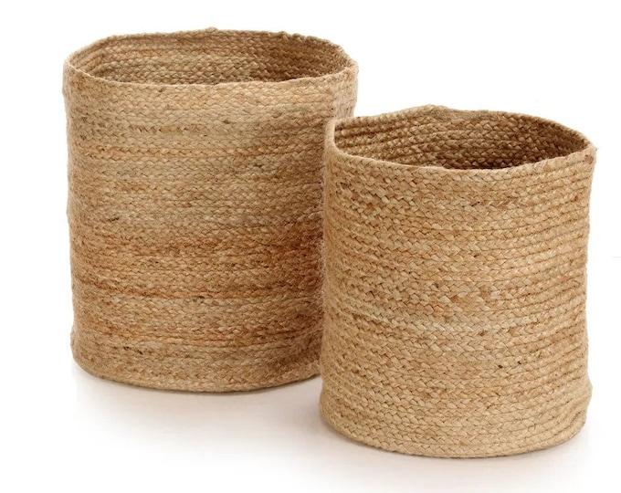 Set of 2 Storage Basket Jute Handmade Organizer Utility Boxes