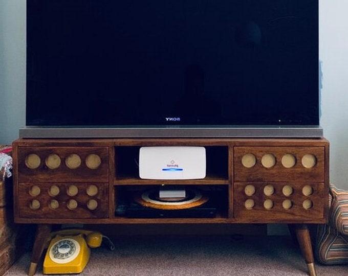 Retro Style TV Stand Scandinavian Mid Century Modern Media Unit Console Cabinet Handmade