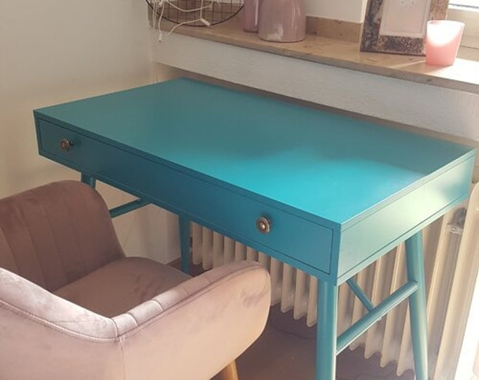 Small Writing Desk Industrial Turquoise Computer Table Laptop Dressing Vintage Style with Drawer Console